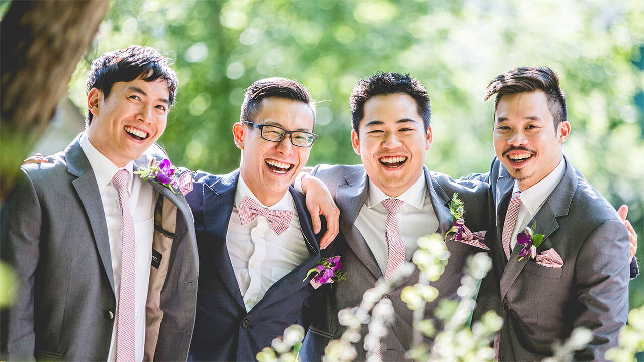 Edmonton Wedding Photographer with happy groomsmen